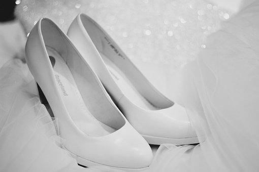 靴, 花嫁, 女性の靴, 結婚式の靴, 結婚式, エレガントです, 白
