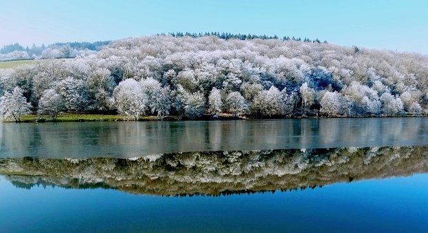 湖, 镜子, 温特斯, 冬天风景, 法国, 结冰的湖, 性质