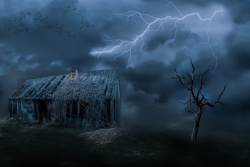 Old House, Leave, Dark Clouds