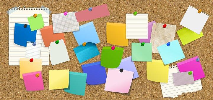 Bulletin Board, Stickies, Post-It, List