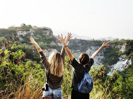 自由, 旅行, ハイキング, 一緒に, お友達と, ツリー, 自然, キャンプ