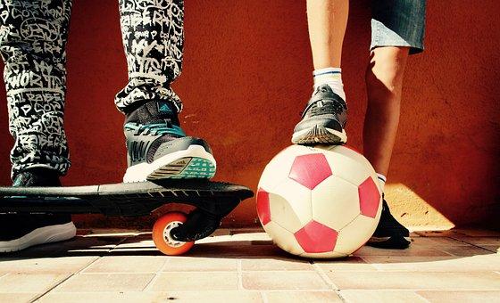 Boys, Game, Ball, Skateboard, Football