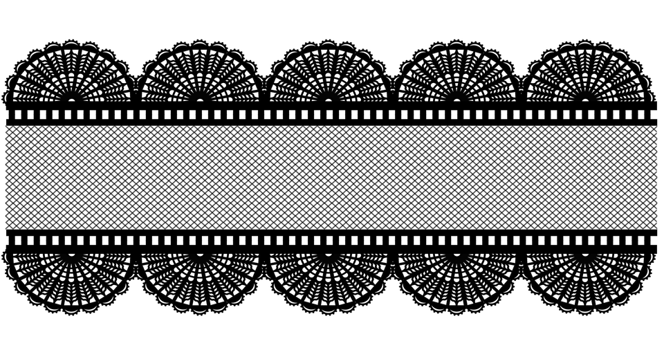 Black Lace Mesh Border Banner Ribbon Intricate