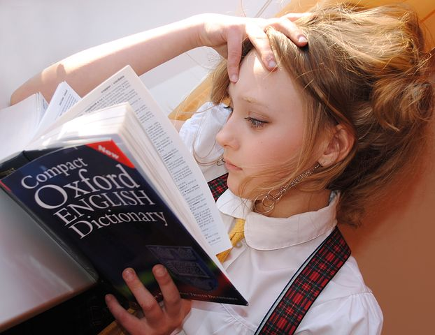 Girl, English, Dictionary, Read, Reading
