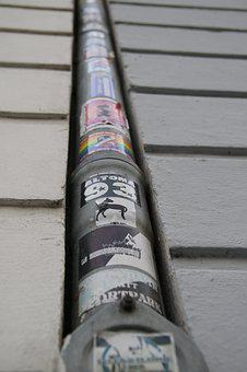 Gutter, City, Sticker, Facade