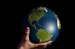 america, globe, hand