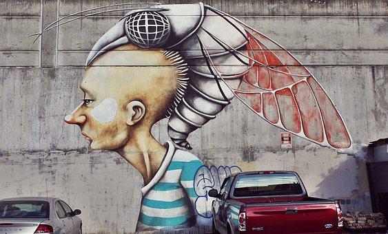 Street Art, Mural, Graffiti, Cyborg