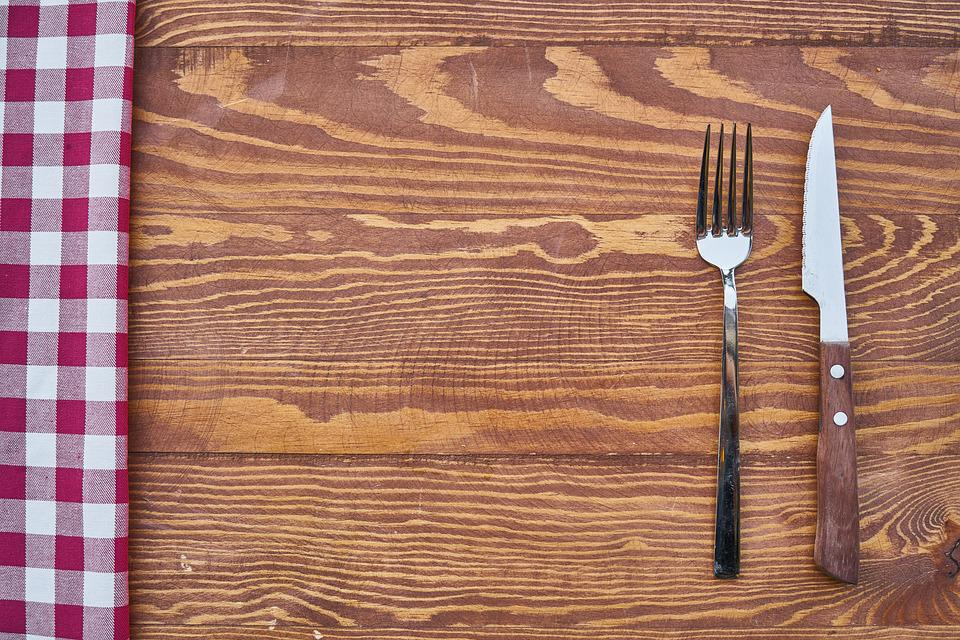Table, Fork, Knife, Background, Copy Space