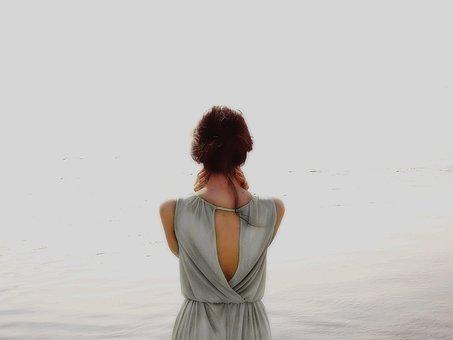 女の子, 水, スピン, 美しい, 海, 美容, 女, 裏
