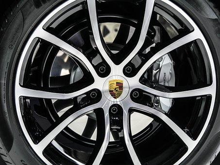 轮, 边, 金属, 刹车, 制动盘, Alu, 闪亮, 汽车, 保时捷, 跑车