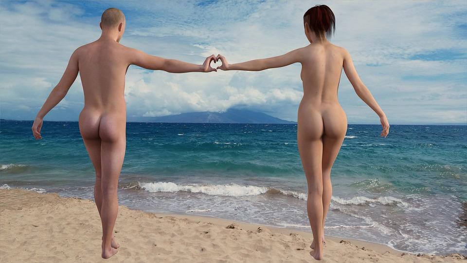 Nackte mädchen am fkk strand