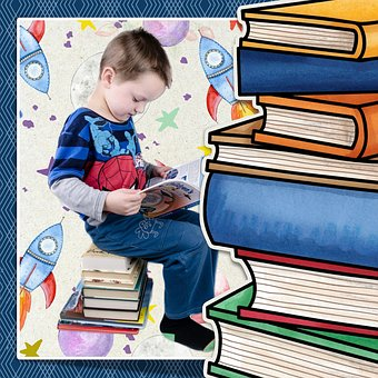 Boy, Reading, Books, School, Education