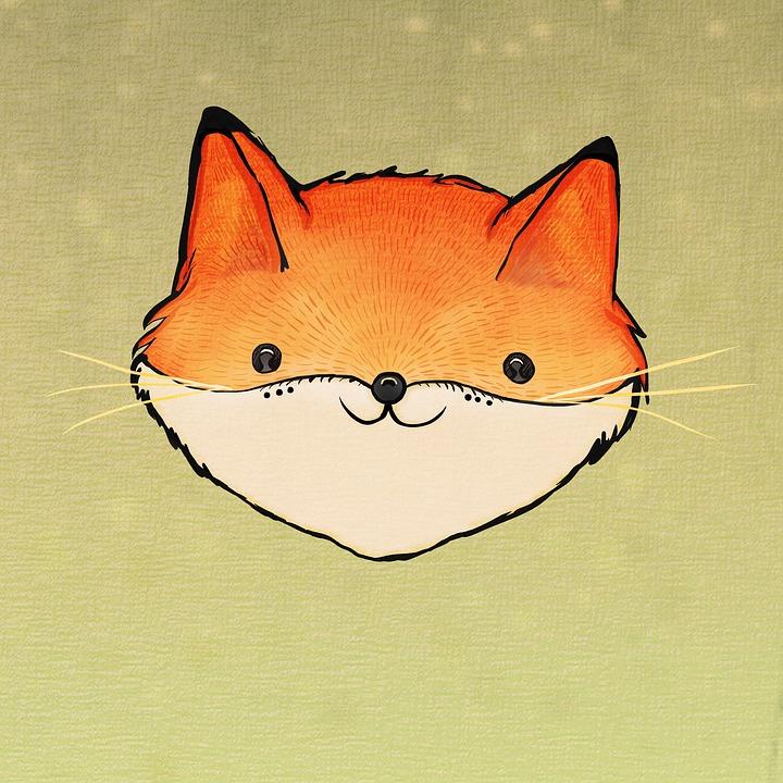 Fox, Carino Volpe, Orange, Sorridente Fox, Cartoon Fox