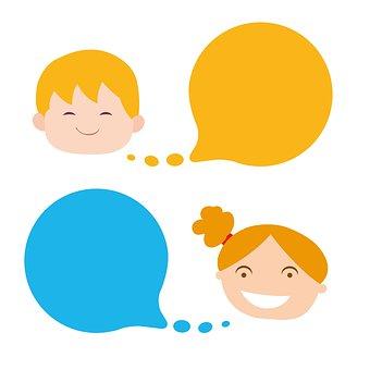 おしゃべり, 議論, 女の子, 子供, Clipart, かわいい, デザイン