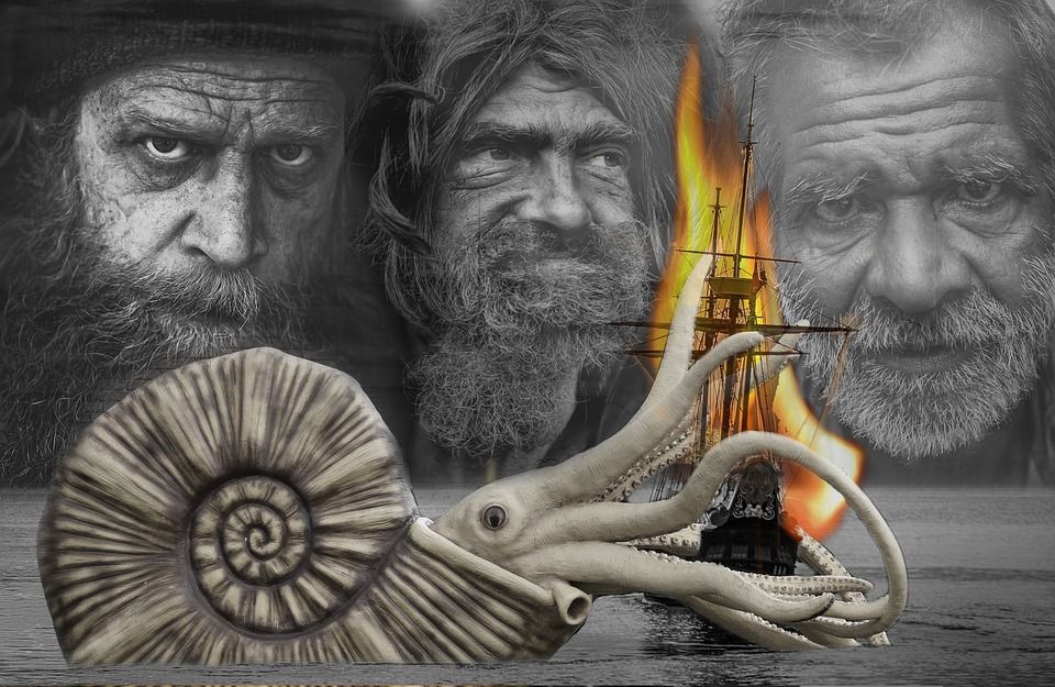 Ship, Cuthulu, Tentacle, Wreck, Sea, Ghosts