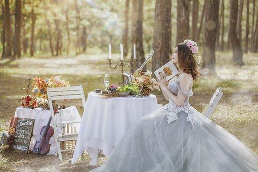 婚礼, 新娘, 亚洲, 美丽, 越南, 自然, 户外, 优雅, 白色的裙子