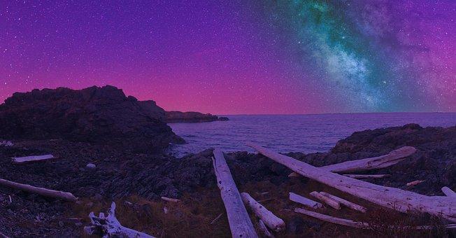 Canada, Night Sky, Stars, Ocean, Summer