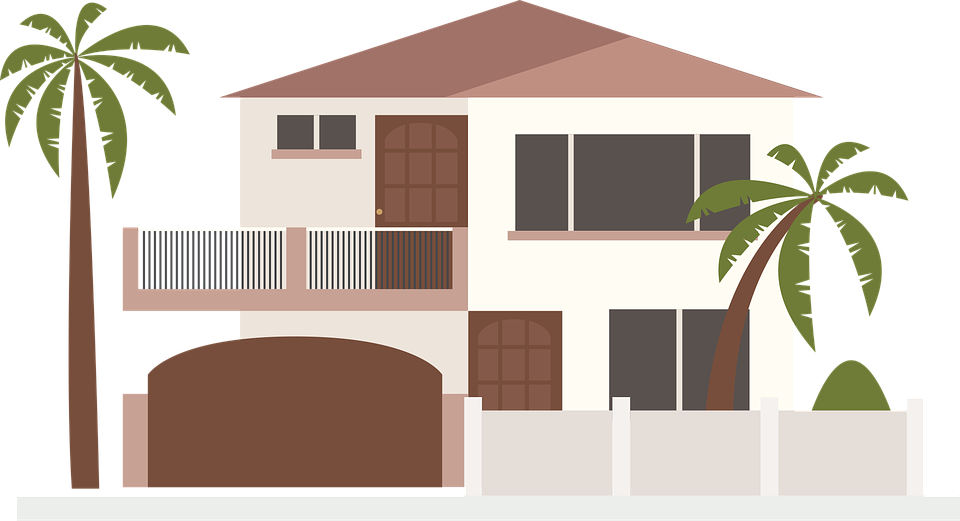 House Clip Art Modern Palm Trees Home Design Icon