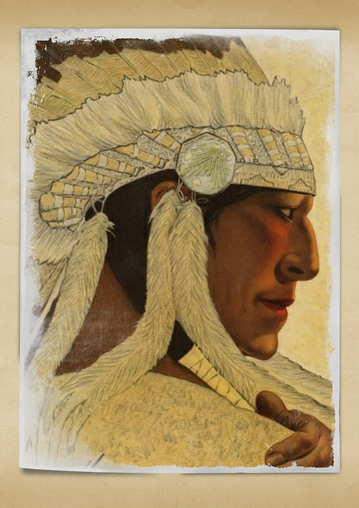 Chief Indian Vintage Headpiece Beautiful Male