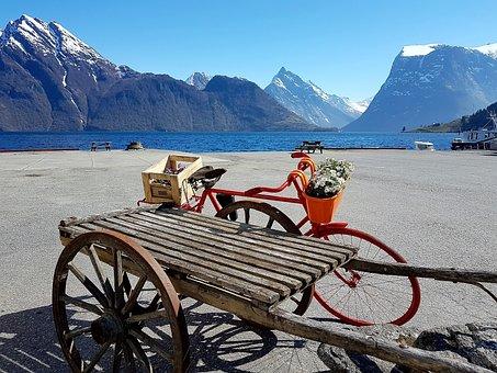 Fjordland, Bleu, Montagne, Paysage