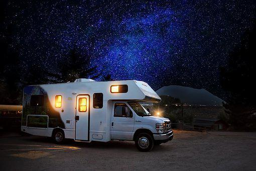 Rv, Camper, Night, Camping, Adventure