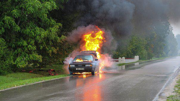 Car Accident, Fire, Street, Accident