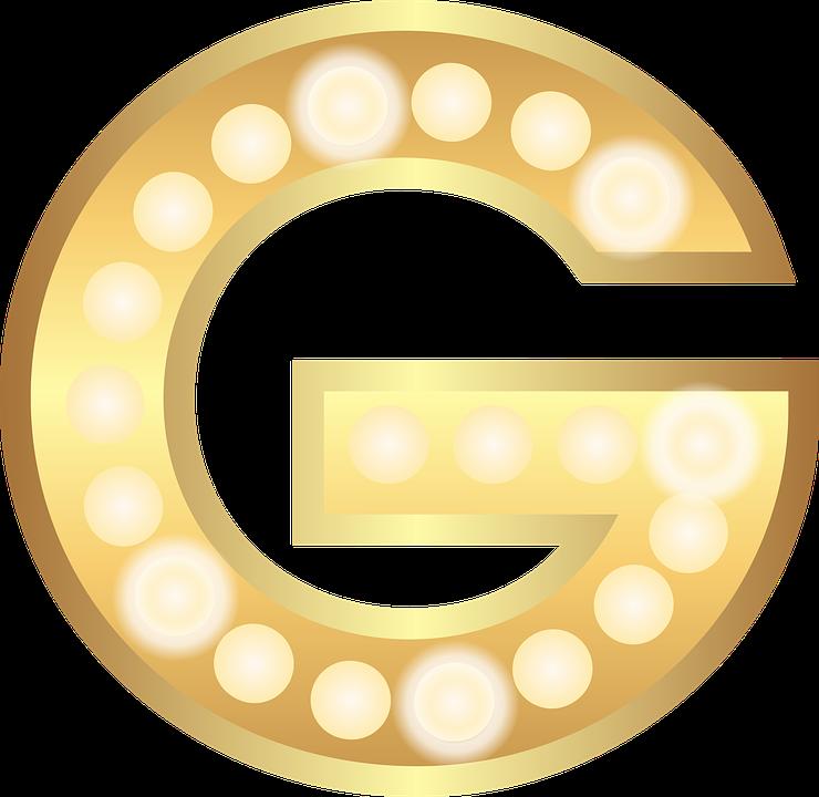 G Glamour Gold Lights Theater Letter Alphabet