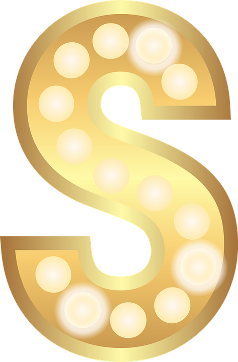 S, Glamour, Gold, Lights, Theater Letter, Alphabet