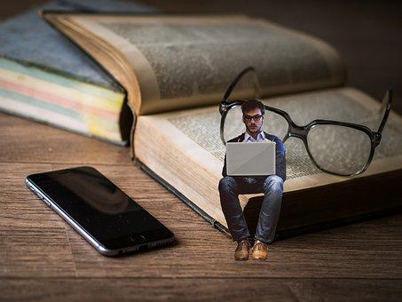 本, メガネ, ライター, 教育, 研究, 読み取り, 学生, 知識, 幸せ