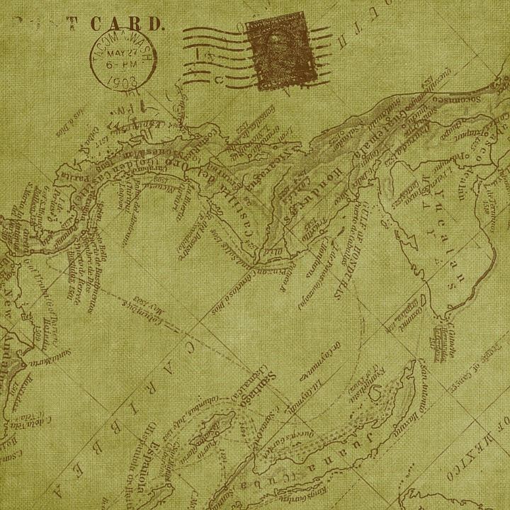 Vintage Mappa Sfondo Carta Cartolina Postale
