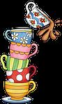 cups, tea, watercolor