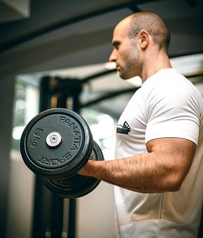 ジム, スポーツ, フィットネス, 上腕二頭筋, 腕, トレーニング, ダンベル