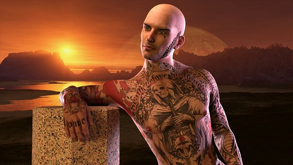 Man, Extravagant, Tattoo, Sunset, Peeled