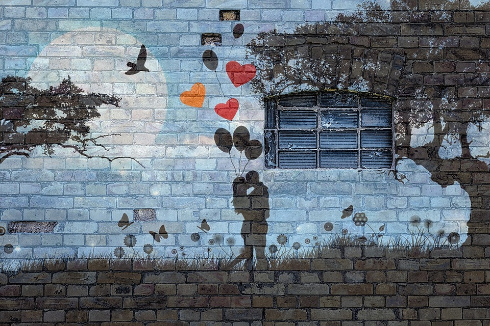 Wall, Brick, Grafitti, Window, Love, Couple, Balloons