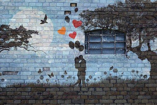 Wall, Brick, Grafitti, Window, Love