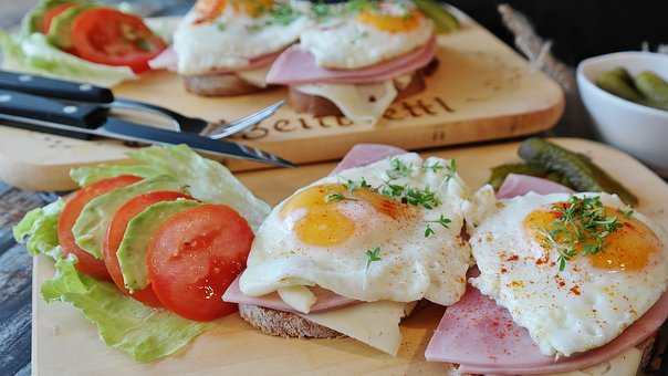 Fried Eggs, Bread, Ham, Tight Max, Egg