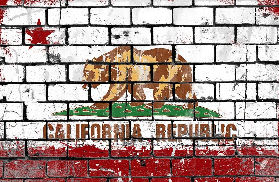 California, Flag, Brick Wall, Grunge