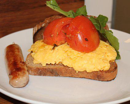 Food, Breakfast, Sausage, Scrambled Egg