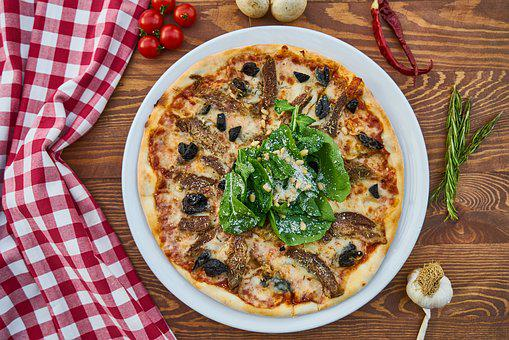 Pizza, Meat, Dough, Greens, Olives