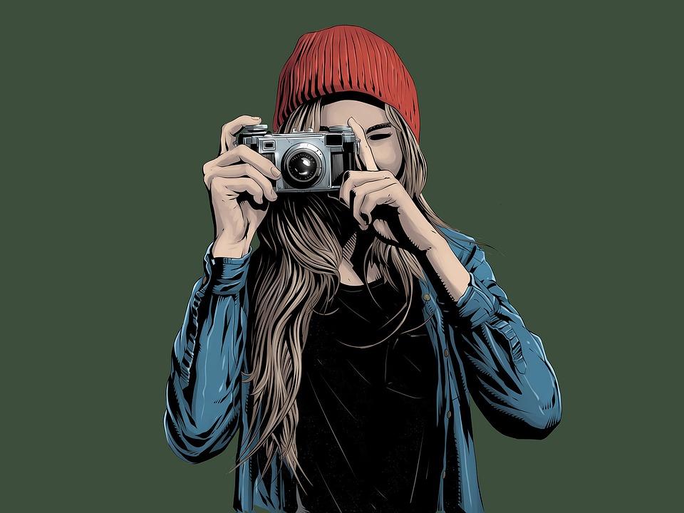 女孩, 摄影师, 相机, 快照, 女子, 摄影, 帽子, 女性, 时髦图片