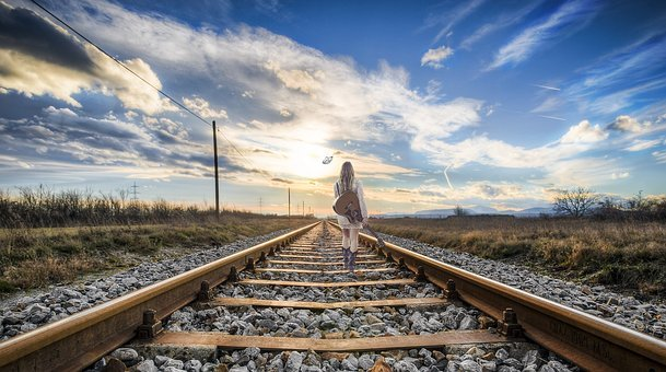 Rail, Girl, Composing, Fantasy