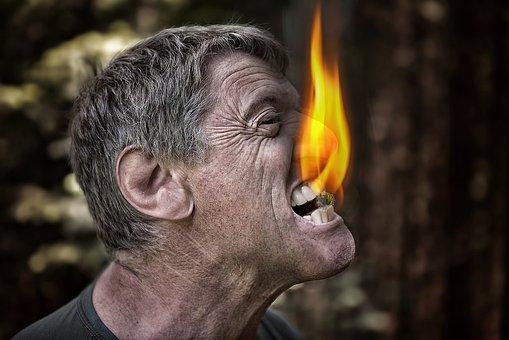 Mordida, Fogo, Carvão, Com Raiva, Homem