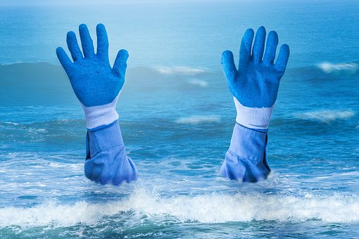 Hands, Drowning, Sea, Cold, Wet, Gloves