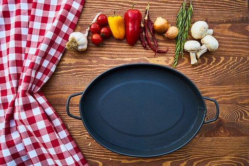 Pan, Tray, Pot, Black, Granite, Kitchen