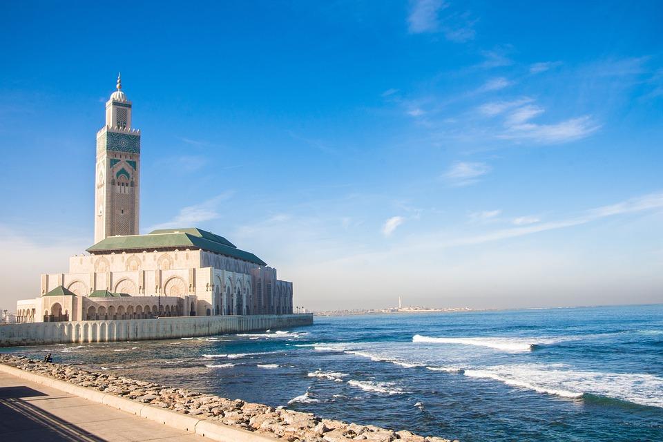 Casablanca, Meczet, Morze, Maroko, Podróży
