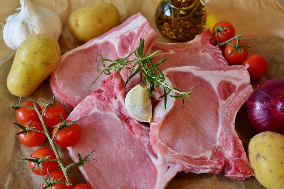チョップ, 豚, ポークチョップ, リブ, 正方形, 中国語, 食べる, 肉, 生, 調理する, キッチン