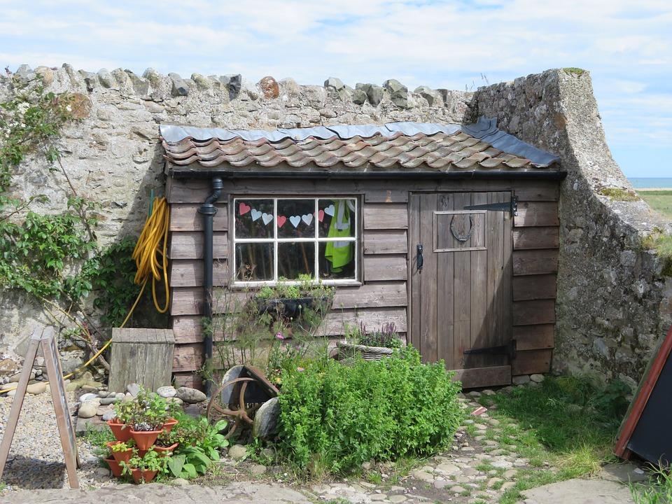Schuppen Hütte Garten Holy Island Im Freien Bau