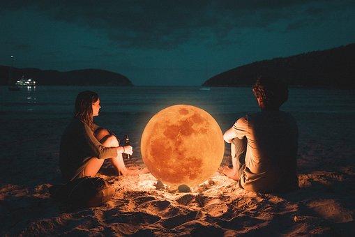 Couples, Moon, Light, Romantic, Night