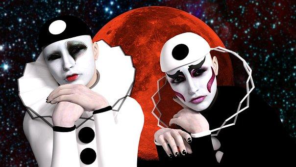 Pierrot, Masken, Luna, Melancholie