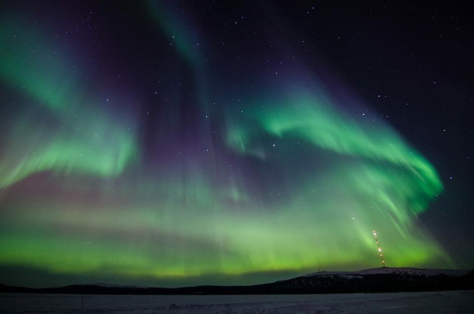ノーザンライツ, オーロラ, ラップランド, 緑, ノーザン ライト, 北極圏, 電子, 冬, 満天の星空